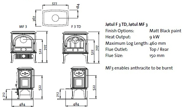 J 248 Tul F3 Td Wood Burning And F 3 Mf Multi Fuel Burning