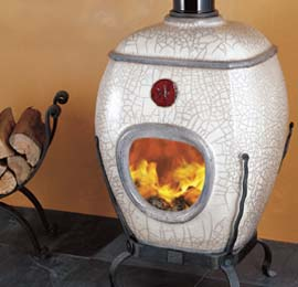 Earthfire white raku ceramic indoor open fireplace